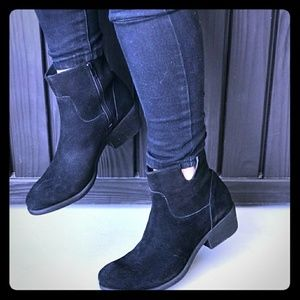 Black Genuine Suede Western Style Boots